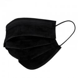 Mascarilla no reutilizable triple capa con termosellado en color negro