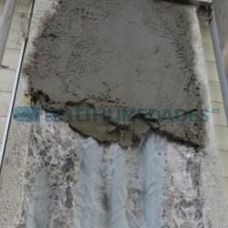 Aplicación de mortero sobre Resina Puente Unión de Sopgal para mejorar adherencia