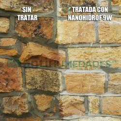 Pared de piedra antes y después de ser tratada con Hidrófugo Nanohidrof-9W Sin Disolventes repelente de agua