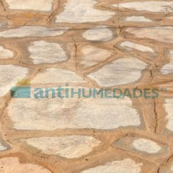 Aplicación de Mortero Acrílico con aridos elastomero de altas prestaciones en junta de piedra