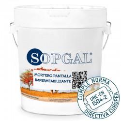 Mortero Pantalla Impermeable de Sopgal elimina las filtraciones de agua cumple norma une en 1504-2