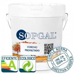 Pintura Ecológica de Corcho Proyectado natural Sopgal. Eficiente energeticamente y cumple norma europea UNE-EN 1504-2