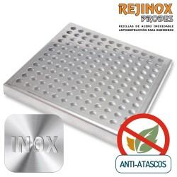 Pack Rejilla con Sistema Anti Atascos Marco + Tapa Plana en Acero Inoxidable de Rejinox Prodes