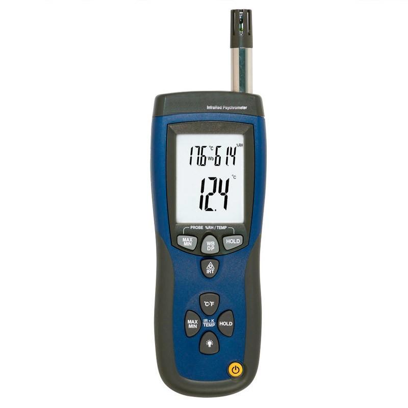 Termohigrómetro profesional mide humedad y temperatura ambiental