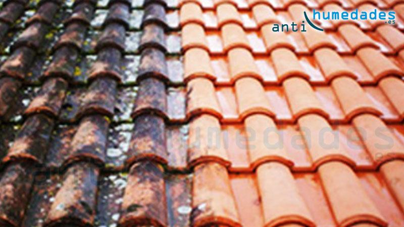 Limpieza de tejado con hidrolimpiadora a baja potencia