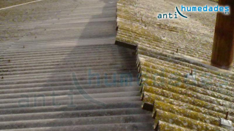 Tejado de uralita con problemas de humedades