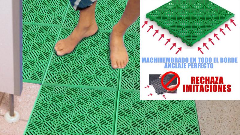 Losetas PVC anti humedad para suelos de piscinas duchas y vesturarios