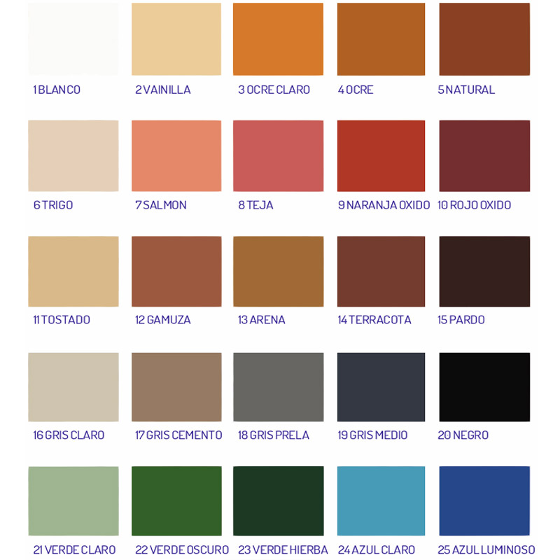 Carta de colores disponibles en Corcho Proyectado