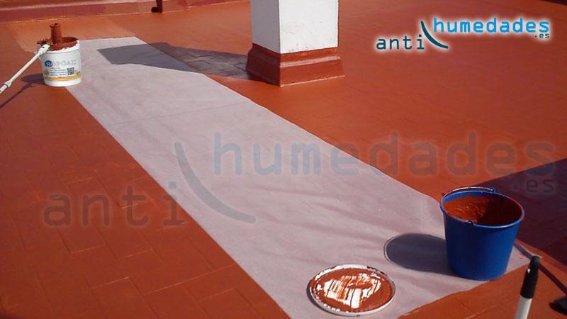 Aplicación de Caucho sin fibrar sobre terraza
