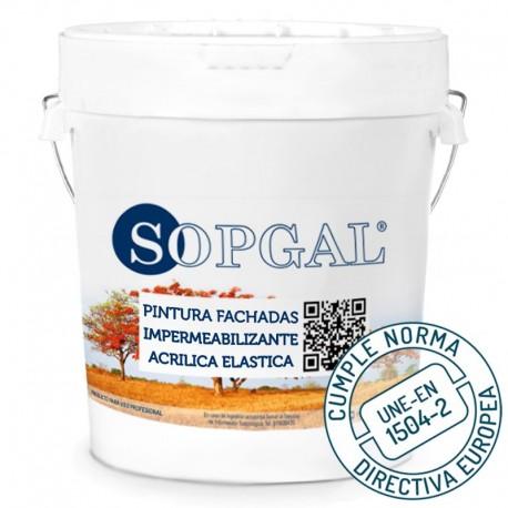 Pintura Impermeabilizante Fachadas 100% Acrílica Sopgal Homologada según norma UNE-EN 1504-2