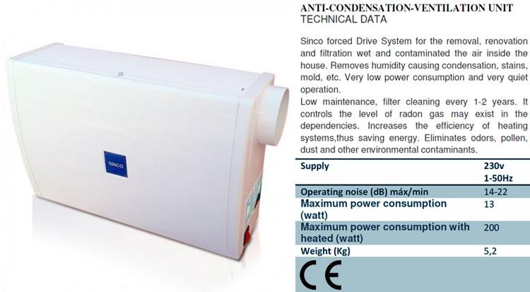 Ficha tecnica del sistema de ventilación forzada positiva SINCO