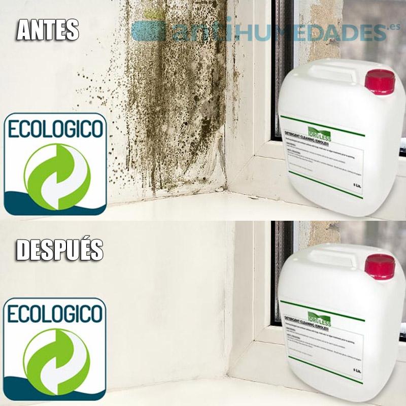 El limpiador detergente fungicida de Idroless acaba con las manchas provocadas por la humedad.