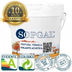 Pintura térmica acústica Sopgal con 10 años de garantia, eficiente energeticamente y ecológica