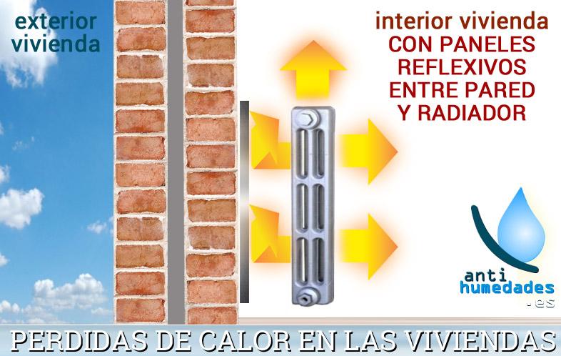 Con los paneles reflectantes evitamos la pérdida de calor de los radiadores